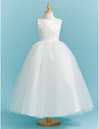 Ball Gown Crew Neck Floor Length Lace   Tulle Junior Bridesmaid Dress with  Beading   Appliques   Sash   Ribbon by LAN TING BRIDE® 60390f99618d