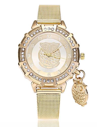 בגדי ריקוד נשים שעון יד קווארץ זהב חיקוי יהלום אנלוגי נשים יום יומי אופנתי - זהב