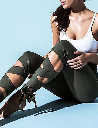 preiswerte Visors Kleidung-Damen Am Unterschenkel zum Binden Yoga-Hose Sport Solide 3/4 Strumpfhosen/Corsaire Leggins Ballett Tanz Fitness Sportkleidung Atmungsaktiv Rasche Trocknung Komfortabel Dehnbar