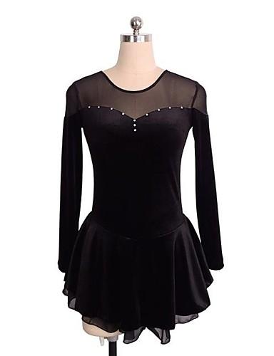 שמלה להחלקה אמנותית בגדי ריקוד נשים / בנות החלקה על הקרח שמלות שחור / כחול ים / בורדו ספנדקס ביגוד להחלקה על הקרח נצנצית שרוול ארוך החלקה