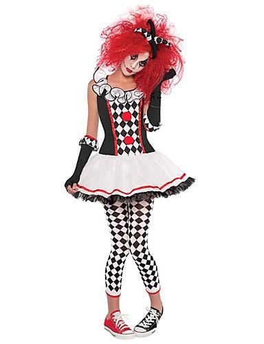 levne Cosplay a kostýmy-Burlesque / Klaun Cirkus Šaty Cosplay Kostýmy Kostým na Večírek Dámské Party / Večírek Karneval Festival / Svátek Polyester Černá Žena Karnevalové kostýmy Barevné bloky