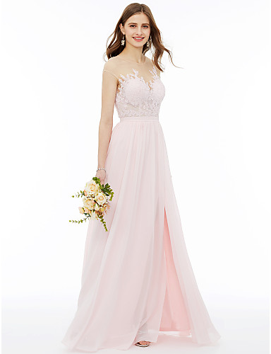 49c97ed41201c A-Line Illusion Neck Floor Length Chiffon / Floral Lace Bridesmaid Dress  with Appliques / Sash / Ribbon by LAN TING BRIDE®