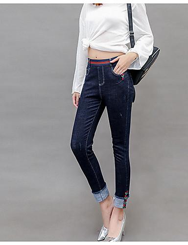בגדי ריקוד נשים כותנה ג'ינסים / צ'ינו מכנסיים - גיזרה גבוהה אחיד / קיץ