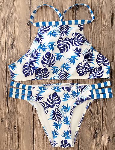 מכנס ארט דקו, דפוס - ביקיני בגדי ריקוד נשים / 2pcs / מותן נמוך / קיץ