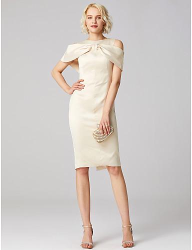billige Feriekjoler-Tube / kolonne Besmykket Knelang Sateng / Jersey Kjole med Sidedrapering / Plissert av TS Couture®
