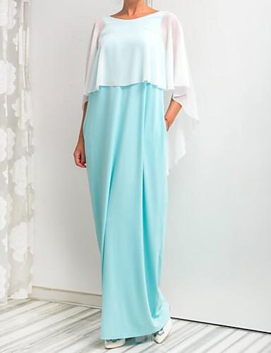 מקסי קולור בלוק - שמלה סווינג סגנון רחוב ליציאה בגדי ריקוד נשים / אביב / קיץ