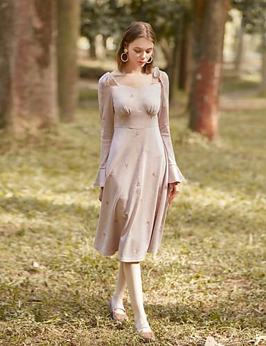 צווארון V מותניים גבוהים דפוס שמלה נדן בגדי ריקוד נשים