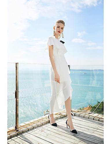 א-סימטרי קפלים, קולור בלוק - שמלה נדן סגנון רחוב בגדי ריקוד נשים