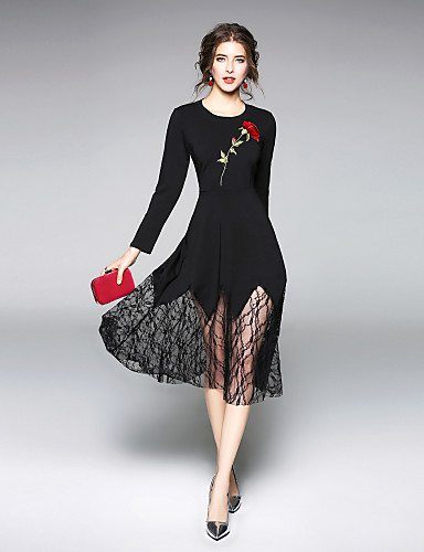 a546af7a79c Γυναικεία Εξόδου Καθημερινό Κομψό στυλ street Swing Φόρεμα - Μονόχρωμο Μίντι