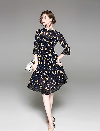 עומד דפוס שמלה נדן בגדי ריקוד נשים