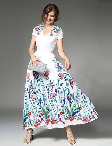 921ec9bf1 Mulheres balanço Vestido,Festa Diário Casual Moda de Rua Floral Decote V  Longo Médio Sem Manga Poliéster Primavera Cintura Média Sem de 6516104 2019  por ...