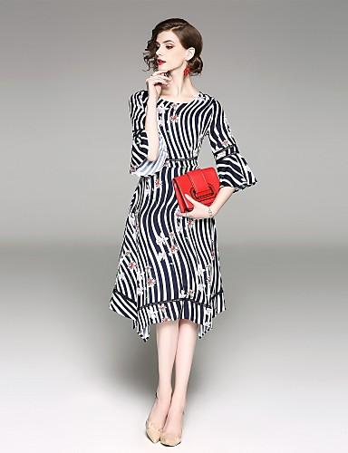 מידי דפוס, פסים - שמלה גזרת A נדן רזה שרוול התלקחות סגנון רחוב בגדי ריקוד נשים