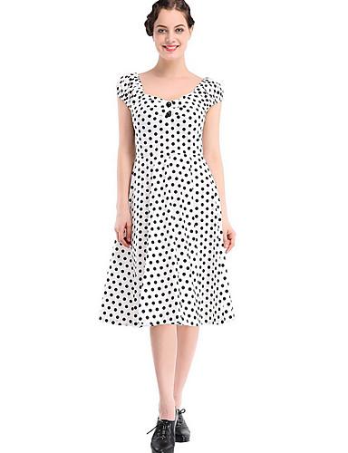 צווארון V מידי מנוקד - שמלה גזרת A וינטאג' / בסיסי חגים בגדי ריקוד נשים / קיץ
