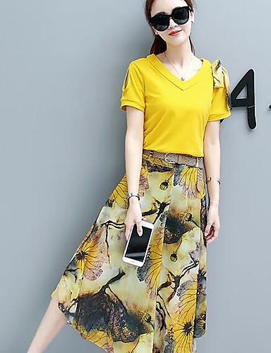 povoljno Ženske majice-Žene Pamuk Jednostavan Majica - Geometrijski oblici Suknja / Ljeto
