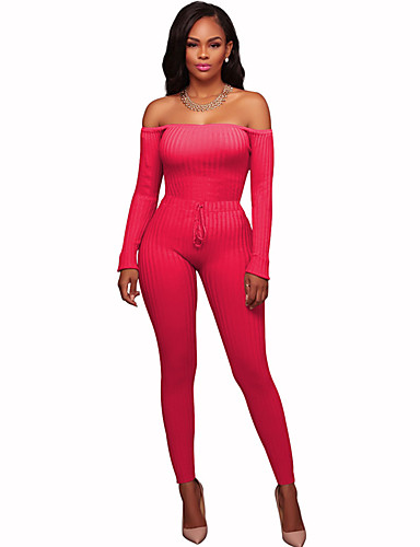 677f9f7da45d Women s Off Shoulder Daily   Going out Off Shoulder Gray Fuchsia Army Green  Jumpsuit