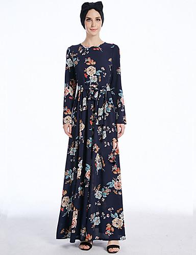 halpa Etniset & Cultural Puvut-Arabian mekko Abaya Kaftan mekko Jalabiya Naisten Muoti Festivaali / loma Polyesteria Sininen Karnevaalipuvut Tulostus