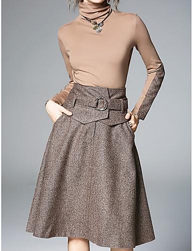 חצאית גדול, צבע אחיד - סט ארוך כותנה מידות גדולות בגדי ריקוד נשים / אביב / סתיו