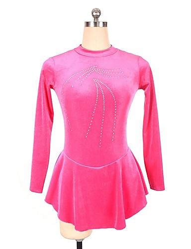 שמלה להחלקה אמנותית בגדי ריקוד נשים / בנות החלקה על הקרח שמלות סגול / אפרסק ספנדקס תחרות ביגוד להחלקה על הקרח נצנצית שרוול ארוך החלקה אמנותית