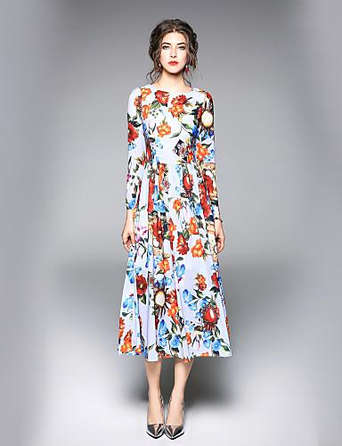 מידי פרחוני - שמלה גזרת A סגנון רחוב עבודה בגדי ריקוד נשים