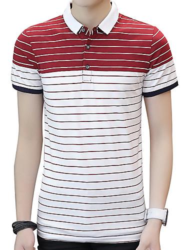 פסים צווארון חולצה רזה סגנון רחוב ספורט כותנה, Polo - בגדי ריקוד גברים