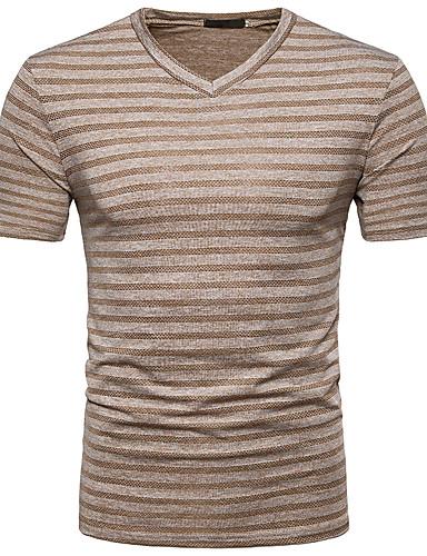 Erkek V Yaka Tişört Çizgili Sokak Şıklığı Koyu Gri / Kısa Kollu / Bahar / Yaz