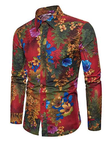 פרחוני צווארון קלאסי רזה מידות גדולות פשתן, חולצה - בגדי ריקוד גברים דפוס / שרוול ארוך