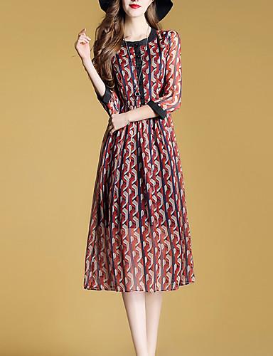 דפוס, גיאומטרי - שמלה נדן בוהו עבודה בגדי ריקוד נשים