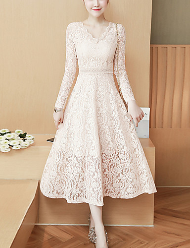 6095f33e112 Women s Lace Daily Work Boho Slim Sheath Dress - Solid Color Lace V Neck  Spring White Black Beige L XL XXL