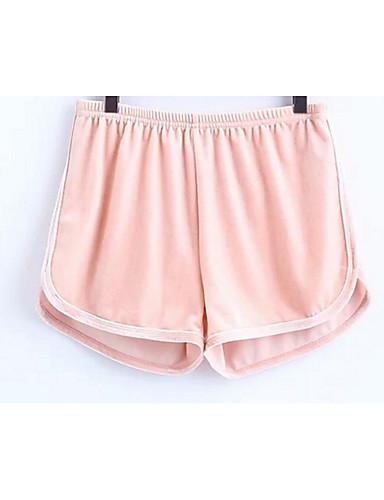 מכנסיים שורטים תערובת כותנה\פוליאסטר מיקרו-אלסטי מותן בינונית אחיד פשוט קיץ כל העונות נורמלי בגדי ריקוד נשים