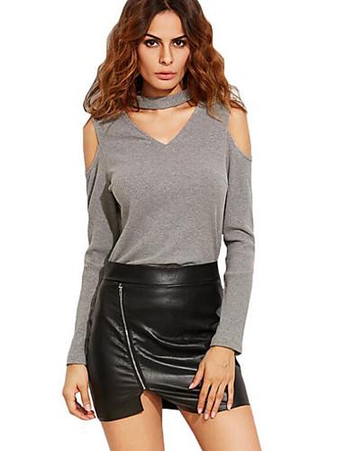 3b768dc643 Mulheres Camiseta Simples Sólido Algodão Preto L   Primavera   Outono