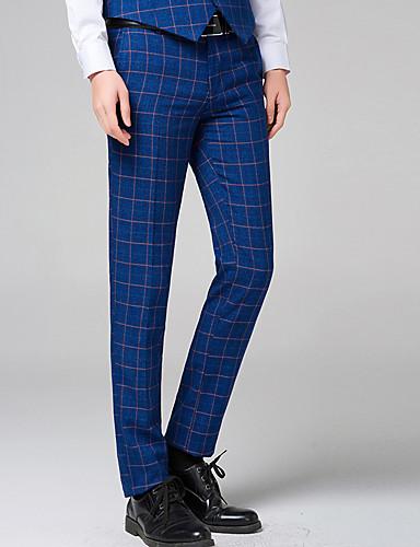 בגדי ריקוד גברים סגנון רחוב כותנה Business צ'ינו מכנסיים אחיד פסים