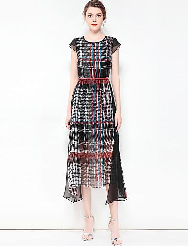 מידי משובץ דמקה - שמלה סווינג מידות גדולות וינטאג' בסיסי בגדי ריקוד נשים