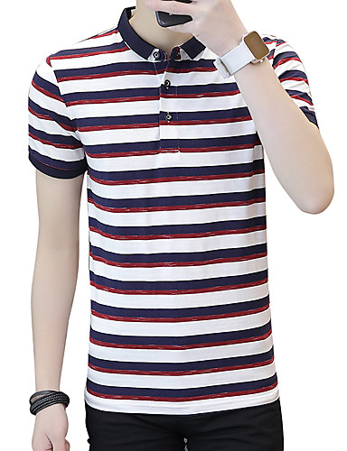 פסים צווארון חולצה רזה סגנון רחוב עבודה כותנה, Polo - בגדי ריקוד גברים