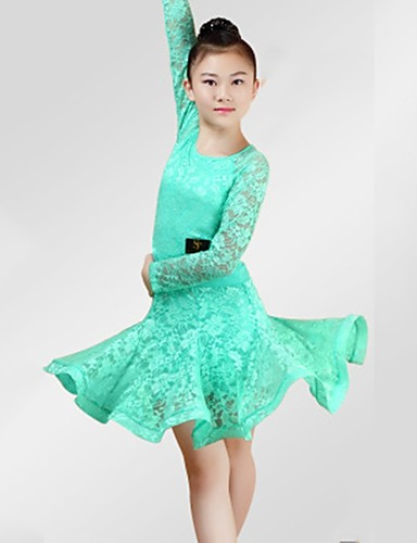 18fd0942e9cb4 Latin Dance Dresses Girls' Performance Spandex Lace Lace Ruching Long  Sleeves Dress