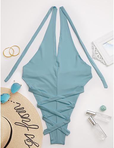povoljno Ženske majice-Žene Jednobojni Bandeau grudnjak Jednodijelno Kupaći kostimi Jednobojno Plava Crn Blushing Pink Svjetloplav