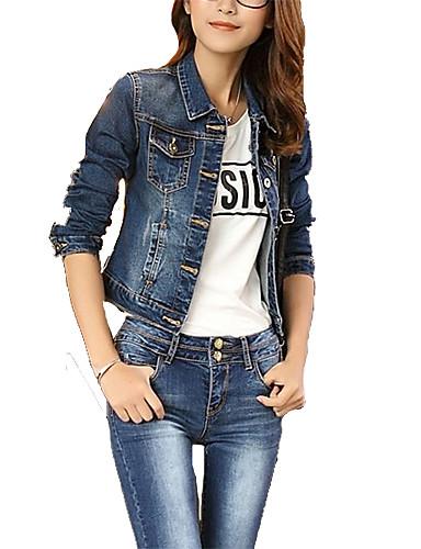 Damen Solide Einfach Freizeit Wochenende Ausgehen Kurz Jeansjacke, Hemdkragen Frühling Polyester