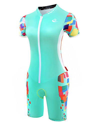cheap Cycling Clothing-Malciklo Women's Short Sleeve Triathlon Tri Suit - Mint Green Bike Breathable Anatomic Design Reflective Strips Sweat-wicking Sports Polyester Spandex Coolmax® Geometry Clothing Apparel / Lycra