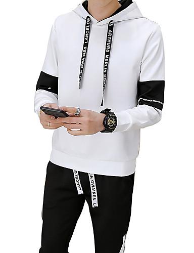 עם קפוצ'ון אחיד activewear הגדר רזה שרוול ארוך מידות גדולות סגנון רחוב ספורט בגדי ריקוד גברים
