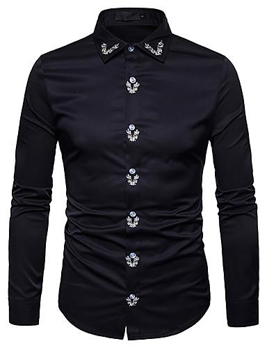 אחיד רזה סגנון רחוב חולצה - בגדי ריקוד גברים / שרוולים קצרים / שרוול ארוך