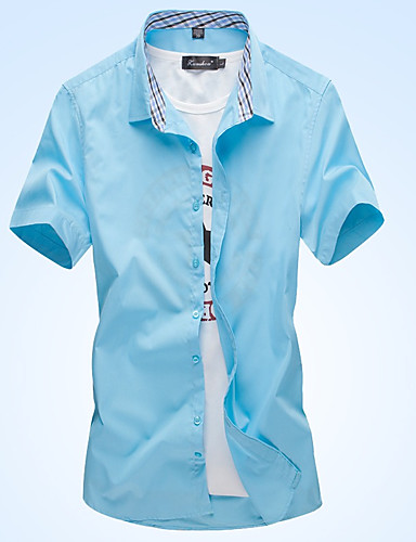 Koszula Męskie Podstawowy Bawełna Solidne kolory / Kratka / Krótki rękaw