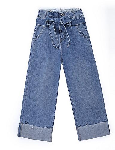 Damskie Bawełna Spodnie szerokie nogawki Jeansy Spodnie Jendolity kolor Wysoka Talia