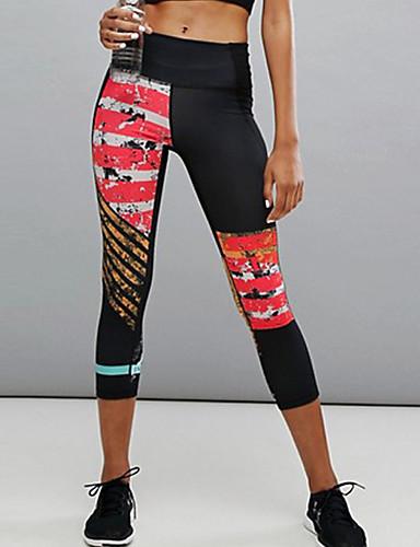 Damskie Codzienny / Sport Sportowy Legging - Kolorowy blok, Nadruk Wysoka talia / Sportowy look