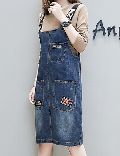 כתפיה מותניים גבוהים עד הברך צבע אחיד - שמלה ג'ינס כותנה מידות גדולות בסיסי בגדי ריקוד נשים / אביב / קיץ