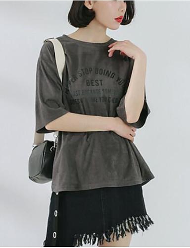 T-shirt Damskie Pofałdowany Bawełna Solidne kolory