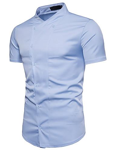 אחיד צווארון עומד(סיני) כותנה, חולצה - בגדי ריקוד גברים / שרוולים קצרים