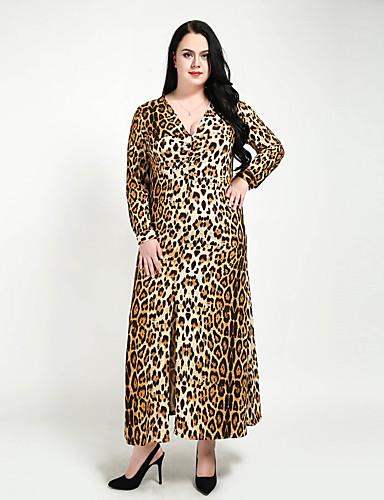 billige Kjoler-Dame Store størrelser Klubb Vintage A-linje / Skiftet / Skjede Kjole - Leopard, Rynket / Delt V-hals Maksi / Sexy