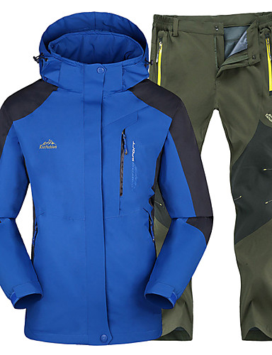 cheap Outdoor Clothing-Men's Solid Color Hiking Jacket with Pants Outdoor Waterproof Thermal / Warm Windproof Winter Jacket Top Bottoms Camping / Hiking Hunting Fishing Blue+Gray Royal Blue+Black Royal Blue+Gray XXXL 4XL