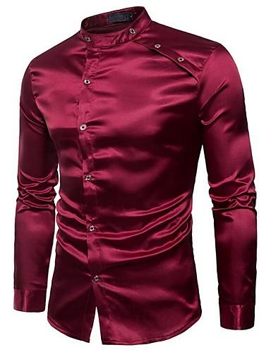 אחיד צווארון עומד(סיני) רזה מידות גדולות כותנה / פוליאסטר, חולצה - בגדי ריקוד גברים / אנא בחר\י מידה אחת גדולה יותר מהמידה הנורמלית שלך.