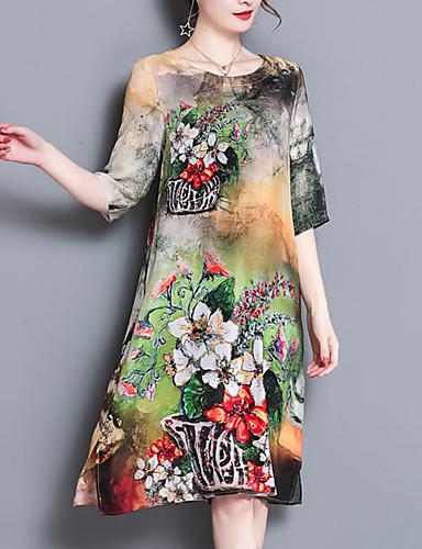 דפוס, פרחוני - שמלה משוחרר מידות גדולות סגנון סיני בגדי ריקוד נשים