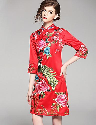 עומד מעל הברך דפוס, פרחוני - שמלה צינור וינטאג' בגדי ריקוד נשים